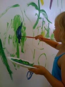 Painting to make marks and practising those fine motor skills