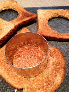 Make your toast circles with a cookie cutter.